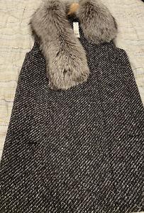 Theory Droneta Silver Fox Vest Wool Sleeveless Jacket Sz S $895