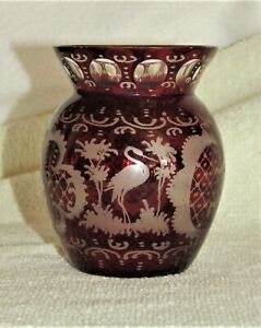 """VINTAGE BOHEMIAN GLASS CUT TO CLEAR 4"""" TALL VASE"""