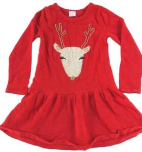 Gymboree Girls Red Reindeer Accent Knit Sweater Knee Length Dress NEW Size 5 5T