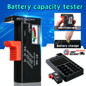 98 Grids Battery Storage Organizer Holder with Tester-Battery Rack Case Box UK
