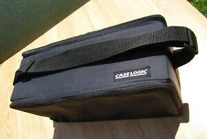 Black CASE LOGIC 60 TAPE Cassettes HOLDER Double Side Storage CARRY CASE w Strap