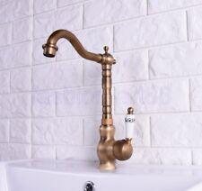 Vintage Antique Brass Swivel Kitchen Sink Bathroom Basin Mixer Tap Faucet fsf117