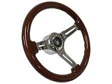 1961 - 1974.5 6 Bolt Mahogany Finish Steering Wheel Kit w/VW Hub & Castle Emblem