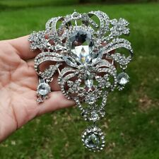 Huge Silver Tone Rhinestone Dangle Brooch 5 Inch Long Drop Large Bouquet Pin