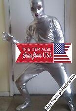 PVC lycra spandex full body zentai suit costume metallic hood stretchy mens