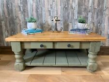 Hand-painted green solid pine coffee table (Country/Rustic/Farmhouse/Coastal)