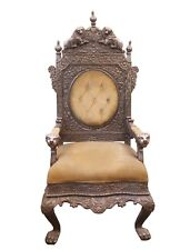 Chair Throne Silver Wood Hand Carved Royal Lions Vintage Home Decor Furniture US