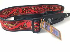 LOCK-IT Guitar Strap  Bob Masse Series Red Thistles Patented Strap Locking