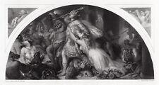 "Nice 1800s Edwin LANDSEER Antique Engraving ""Defeat of Comus"" FRAMED Signed COA"