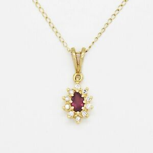 14k Yellow Gold Estate Ruby & Diamond Necklace