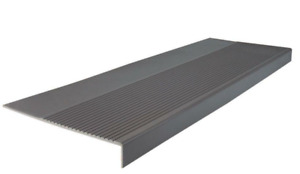 ROPPE Ribbed Profile Charcoal 12-1/4 in. x 48 in. Square Nose Stair Tread Cover