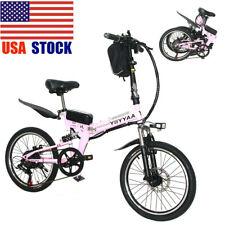 7 Speed 20''Folding Electric Bike City Bicycle 36V 350W Motor Shimano PINK