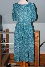 Vintage 1980s DROP WAIST Career Dress Indian Block Print Gauze - Size Large