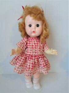 1954 R&B Littlest Angel Doll in Red Gingham Embroidered Dress ALL HARD PLASTIC