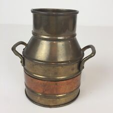 """Brass Mini Milk Can With Handles Copper Band 4 1/4"""" Tall Flower Vase"""