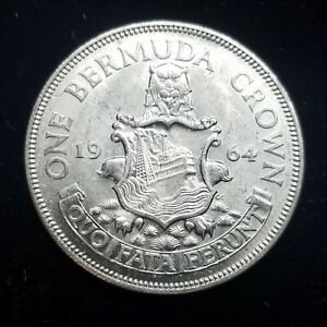 White BU Unc 1964 Bermuda 1 Crown Silver Coin - Mint State (many available)