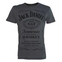 Official Mens Jack Daniels Old No. 7 Label Grey T-Shirt - Retro Tee Classic Logo