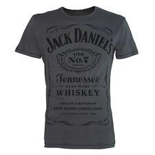 ufficiale da uomo Jack Daniels Old no. 7 etichetta GRIGIO T-SHIRT - retrò