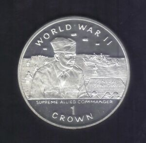 1994 GIBRALTAR ONE CROWN WW II General EISENHOWER  SILVER COIN KM# 264a PROOF