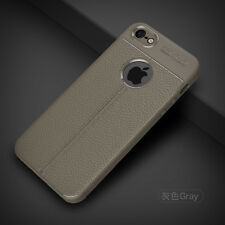 For Apple iPhone SE 5 5S ShockProof Rubber Slim TPU Leather Back Case Cover
