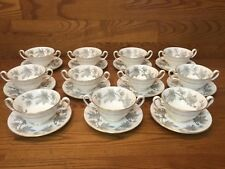 Wedgwood ASHFORD Grey/White W4106 Footed Cream Soup Bowls (11 Sets) ~ Excellent