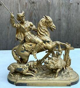 Old Original Bronze Sculpture Renaissance Man Hunting Wild Boar 1890's Very Rare