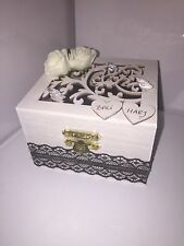 Personalized wooden white & black wedding ring box jewellery box velvet  cushion