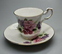 Fine Bone China Rosina-Queens Floral Tea Cup & Saucer April  Set England