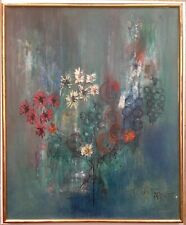 Antique Oil Postimpressionist painting Bouquet of Flowers French school painting