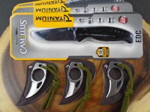 "Camillus Pocket Knife Carbonitride Titanium 3"" Blade Black - Bonus Mini Knife..."