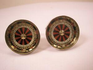 -Live Ball Roulette Wheels Vintage Cuff Links las vegas casino riverboat