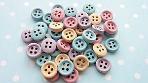 10mm Pastel Colour Round 4 Hole Wooden Buttons, Sewing, Haberdashery, Cardmaking