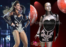 """Silver Sequined Navy Leotard with Half Attached Sleeves like Beyonce """"Halo"""""""