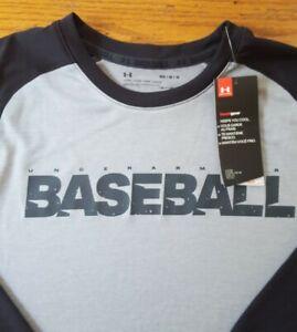 NWT New Men's Medium Under Armour Heatgear Grey Black Baseball Shirt