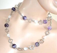 COLLANA LUNGA girocollo donna pietre lilla glicine viola cristalli collier F230