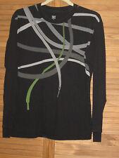 """DC Black Shoe Laces Graphics Long Sleeve T-Shirt Sz M 40"""" Chest #CL216"""
