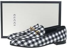 NEW GUCCI LADIES BLACK AND WHITE COTTON LEATHER HORSEBIT LOAFERS SHOES 40/10