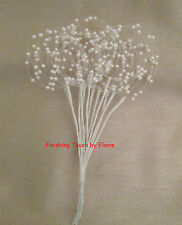 48 Ivory Wired stems of pearl bead hoop sprays. Wedding bouquets.. DECORATIVE