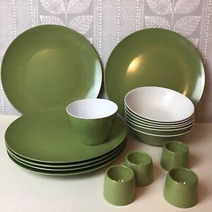 Vintage Melaware Green Dinner Plates, Bowls, Egg Cups, Camper, Festival, Picnic