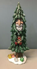 Whimsical Kitsch Ceramic Father Christmas Santa in Evergreen Tree w/ Gifts