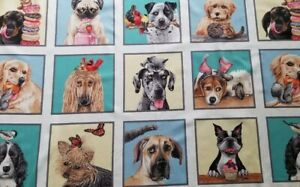 New Elizabeth's Studio Doggie Drama Fabric Panel Quilting Sewing Crafting