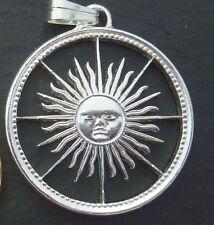 """= Anhänger """" SONNE """" - handgesägte argentinische Münze ="""