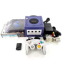 Nintendo GameCube Purple Console Bundle Lot w/ 9 Games, Controller Tested Works
