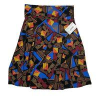 NWT LULAROE Brown Blue Black Geometric Azure A Line Skirt Womens Size 2XL