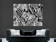 TRIPPY ART RETRO BLACK AND WHITE  ART   WALL POSTER ART  PRINT LARGE HUGE
