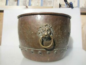 Victorian Copper Log Basket Coal Bucket Planter Tub Plant Rivets Antique Old 17""
