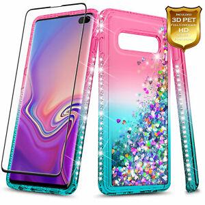 For Samsung Galaxy S10 S10 Plus S10e Case Liquid Glitter Cover +Screen Protector