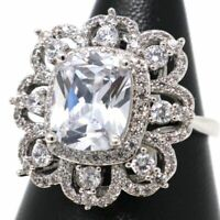 4 Ct Radiant Moissanite Ring Women Engagement Jewelry 14K White Gold Plated