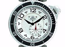 Gio Monaco Men's 644 Poseidon Silver Dial Sub Second Steel and Black PVD Watch