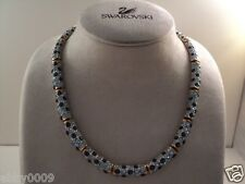 Signed Swan Swarovski Gold Plated Various Shades of Blue Necklace SALE